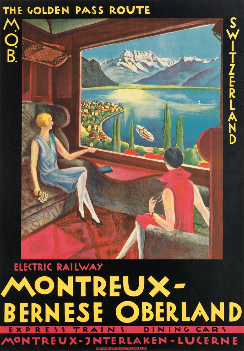 DESIGNER UNKNOWN. MONTREUX - BERNESE OBERLAND / THE GOLDEN PASS ROUTE. 1921. 38x27 inches, 98x68 cm. Brugger Ltd., [Meiringen.]
