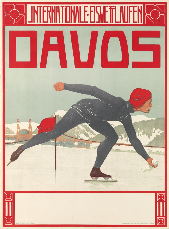 WALTHER KOCH (1875-1915). DAVOS / INTERNATIONALE EISWETTLAUFEN. 1908. 39x29 inches, 99x74 cm. J.E. Wolfensberger, Zurich.