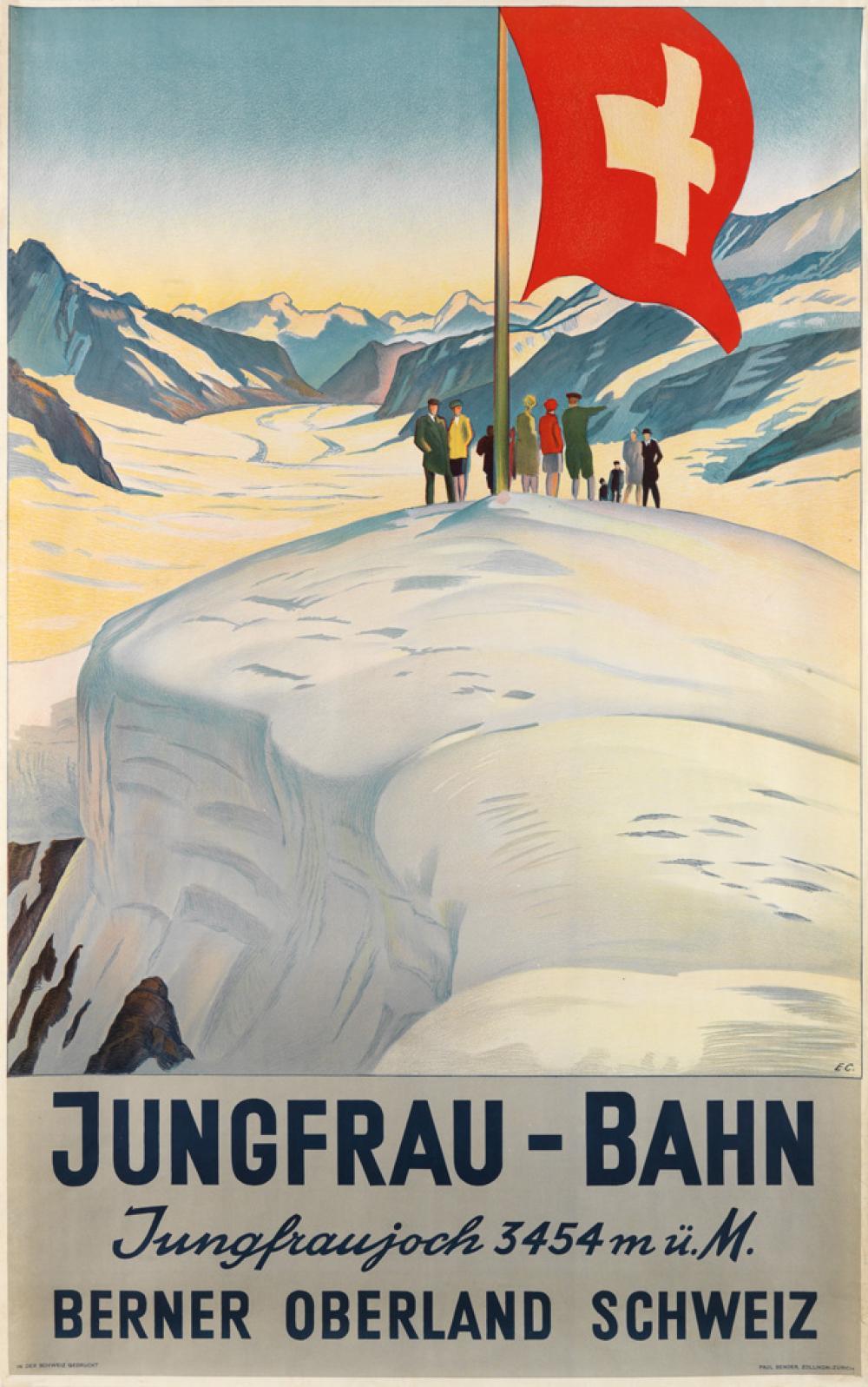EMIL CARDINAUX (1877-1936). JUNGFRAU - BAHN. 1928. 40x25 inches, 101x63 cm. Paul Bender, Zurich.