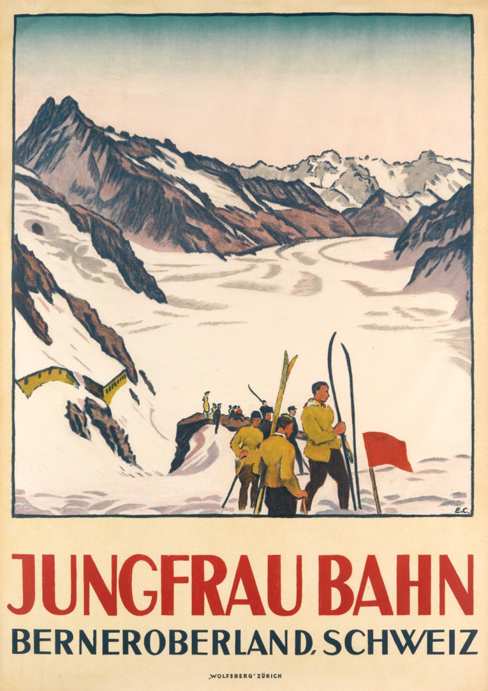 EMIL CARDINAUX (1877-1936). JUNGFRAU BAHN. 1919. 50x35 inches, 127x90 cm. Wolfsberg, Zurich.