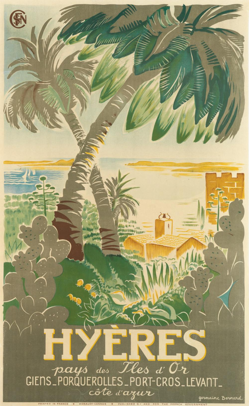 GERMAINE BERNARD (DATES UNKNOWN). HYÈRES. Circa 1925. 38x23 inches, 98x60 cm. Robaudy, Cannes.