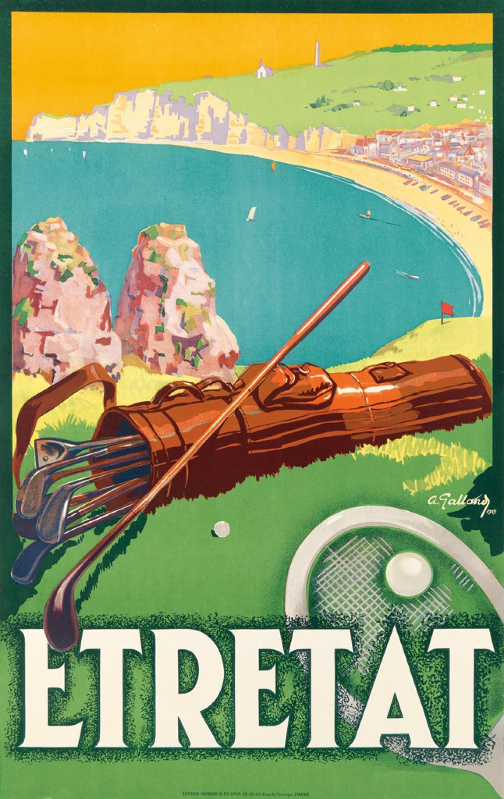 ANDRE GALLAND (1886-1965). ETRETAT. 1929. 39x24 inches, 99x63 cm. Lucien Serre & Cie, Paris.