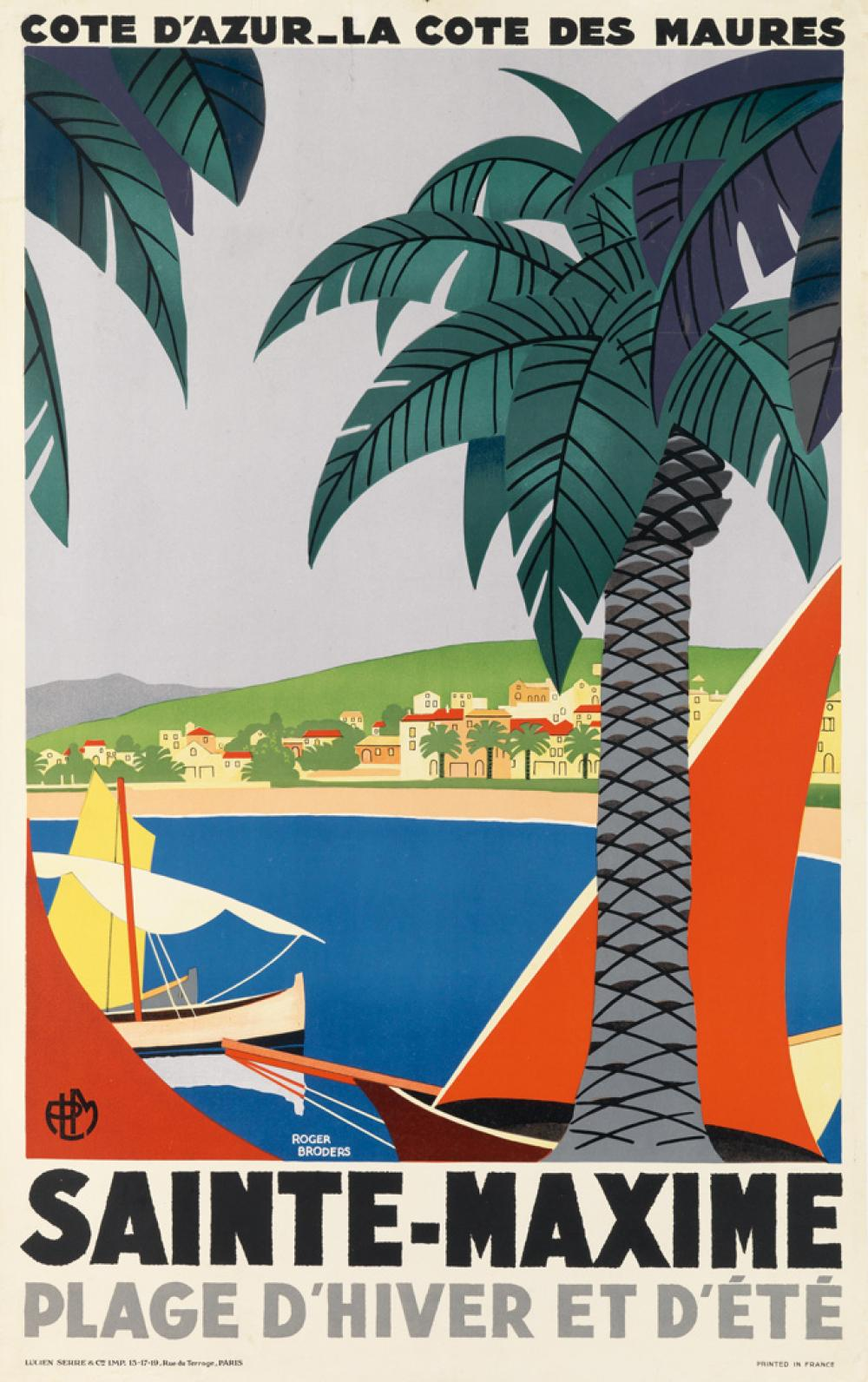 ROGER BRODERS (1883-1953). SAINTE - MAXIME. 1929. 39x24 inches, 99x63 cm. Lucien Serre & Cie., Paris.