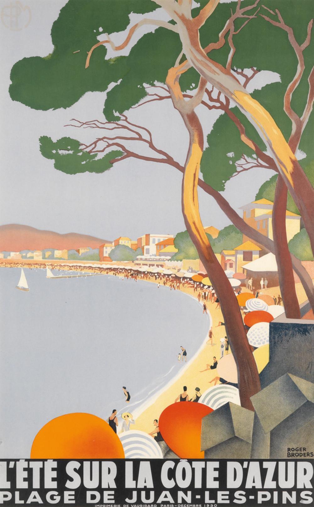 ROGER BRODERS (1883-1953). L'ÉTÉ SUR LA CÔTE D'AZUR. 1930. 39x24 inches, 99x62 cm. Vaugirard, Paris.