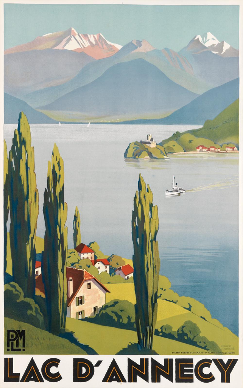 ROGER BRODERS (1883-1953). LAC D'ANNECY. 1930. 39x24 inches, 99x62 cm. Lucien Serre, Paris.