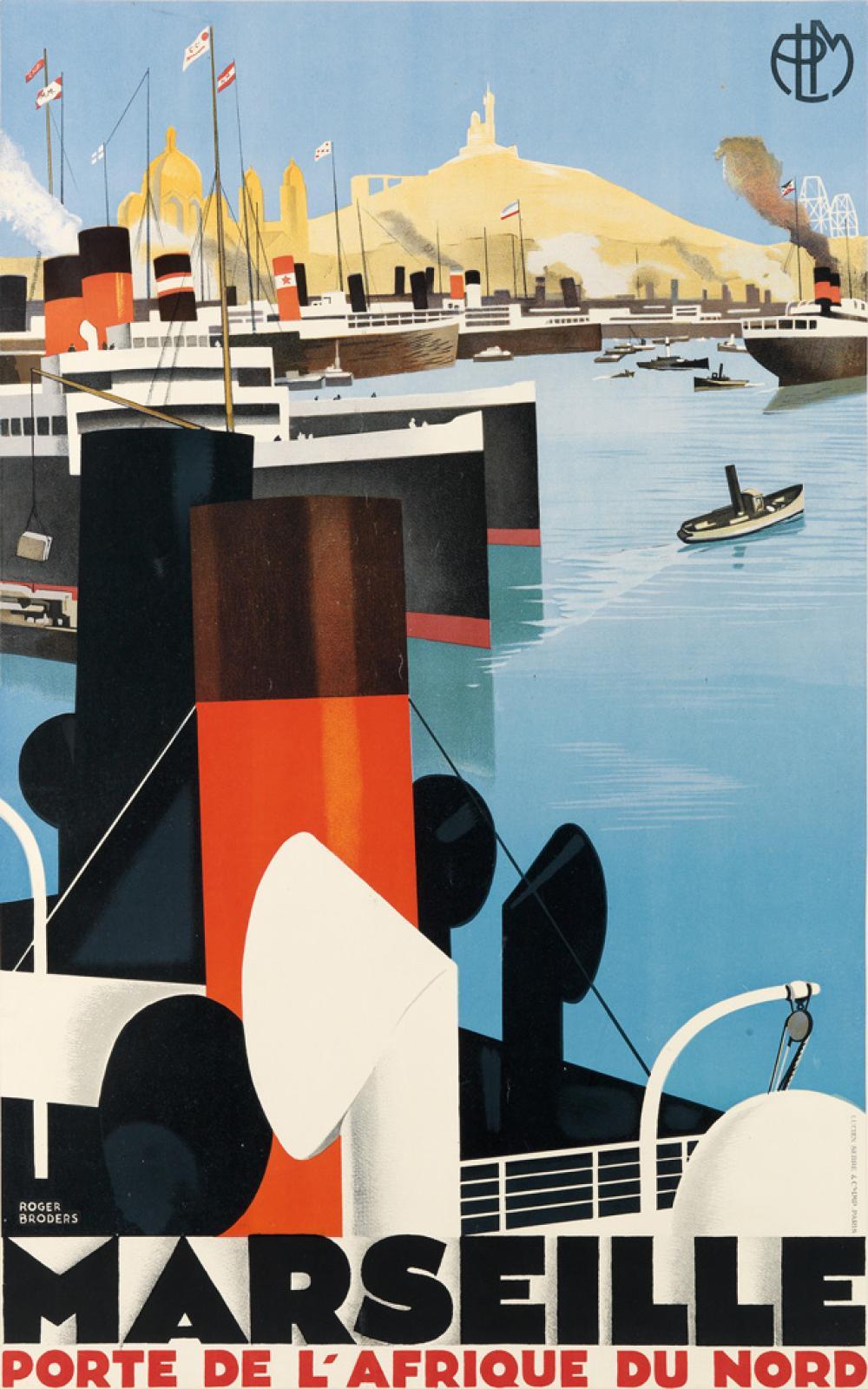 ROGER BRODERS (1883-1953). MARSEILLE / PORTE DE L'AFRIQUE DU NORD. 1929. 39x24 inches, 99x62 cm. Lucien Serre & Cie., Paris.