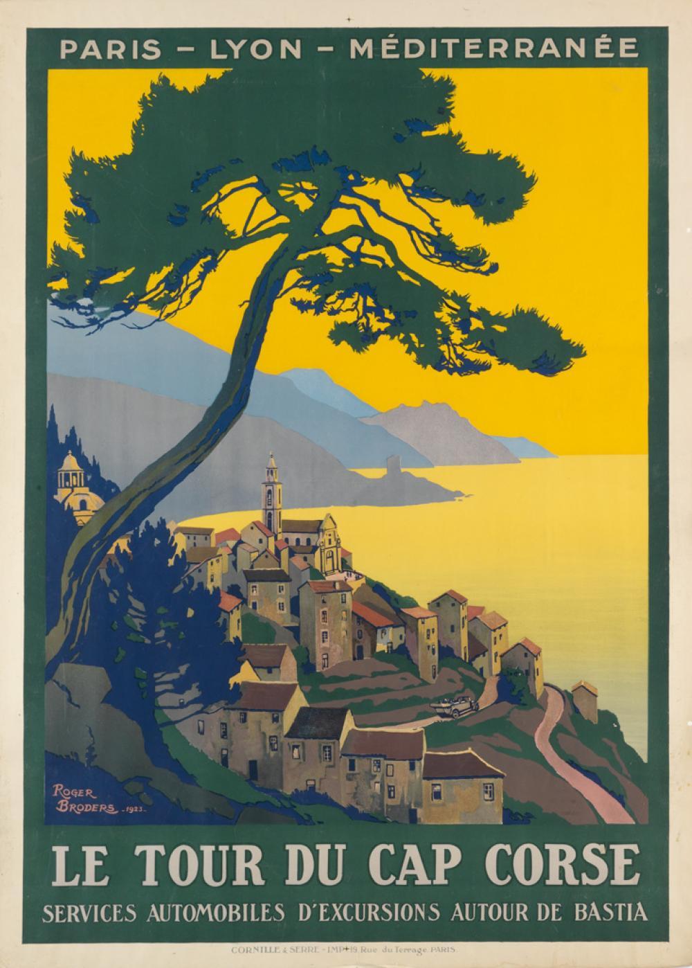 ROGER BRODERS (1883-1953). LE TOUR DU CAP CORSE. 1923. 42x30 inches, 108x78 cm. Cornille & Serre, Paris.