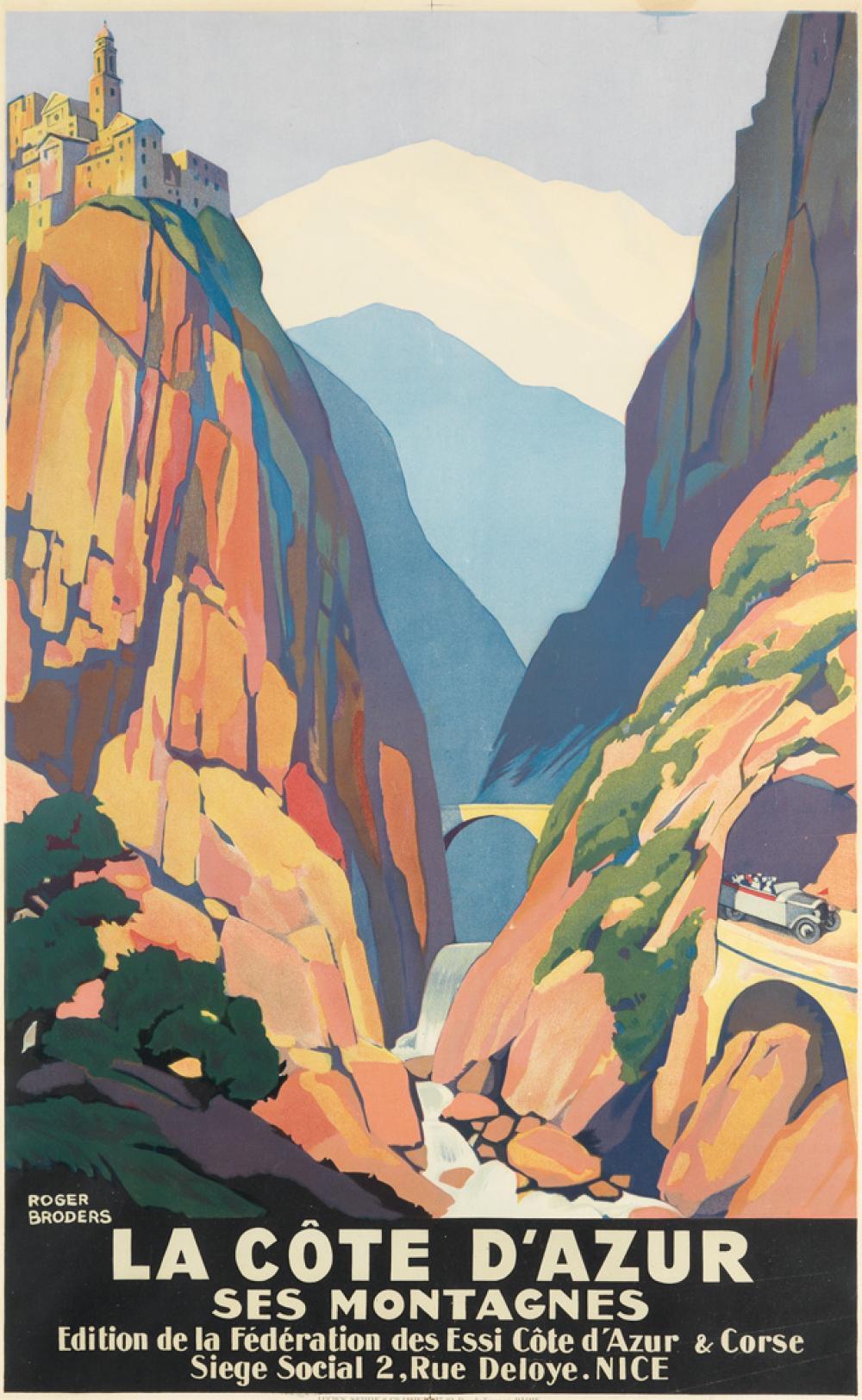 ROGER BRODERS (1883-1953). LA CÔTE D'AZUR SES MONTAGNES. Circa 1930. 39x24 inches, 99x62 cm. Lucien Serre & Cie, Paris.