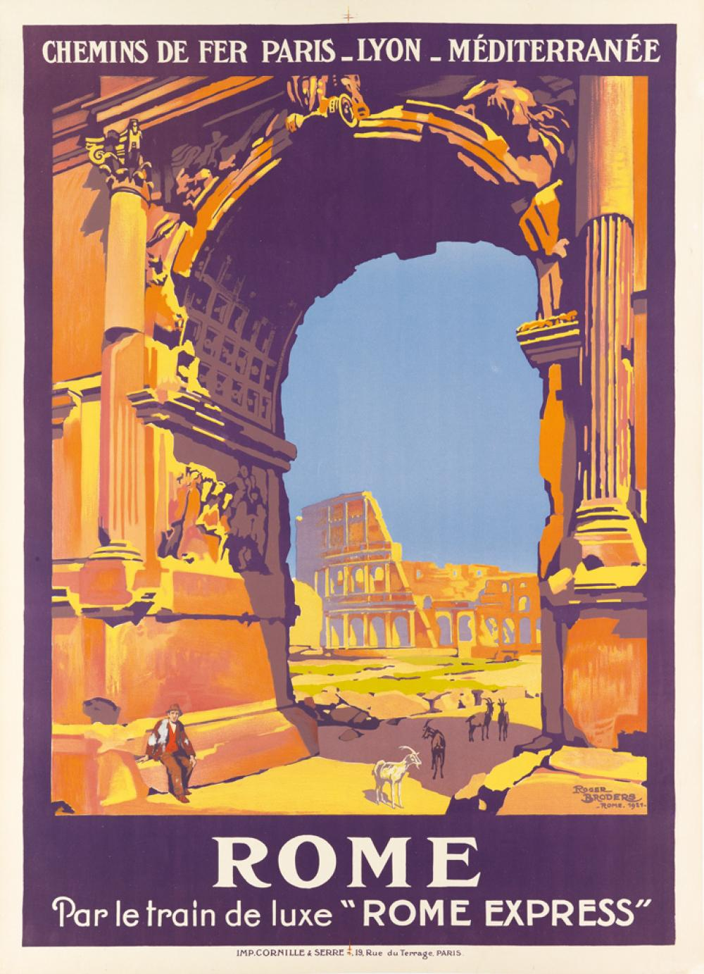 ROGER BRODERS (1883-1953). ROME. 1921. 42x30 inches, 106x78 cm. Cornille & Serre, Paris.