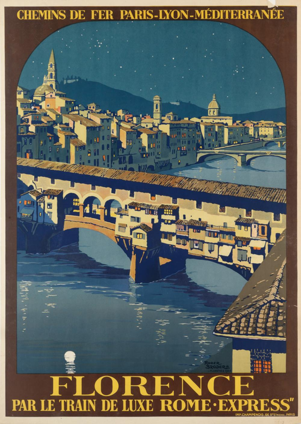 ROGER BRODERS (1883-1953). FLORENCE. 1921. 41x29 inches, 105x74 cm. Champenois, Paris.