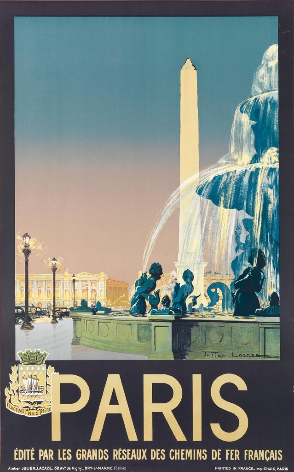 JULIEN LACAZE (1886-1971). PARIS. Circa 1935. 39x24 inches, 99x61 cm. Chaix, Paris.