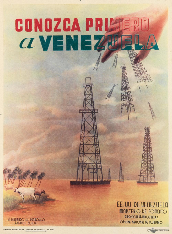 DESIGNER UNKNOWN. CONOZCA PRIMERO A VENEZUELA. Circa 1950s. 23x17 inches, 60x44 cm. Grabados Nacionales, Venezuela.