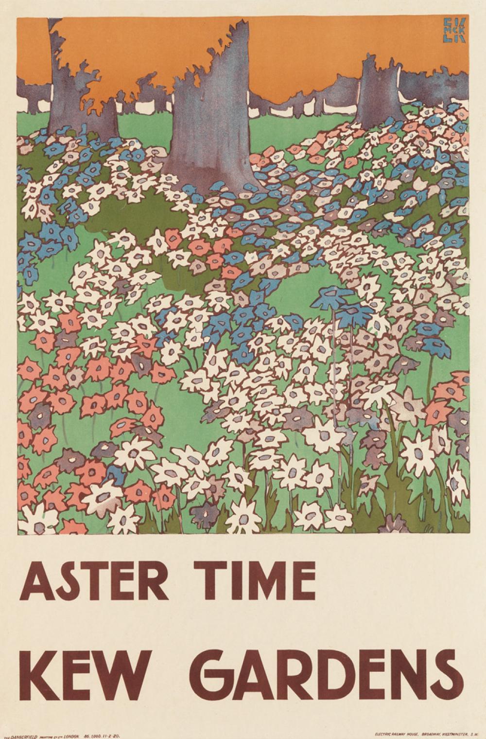 EDWARD MCKNIGHT KAUFFER (1890-1954). ASTER TIME / KEW GARDENS. 1920. 29x19 inches, 75x50 cm. The Dangerfield Printing Co., Ltd., London