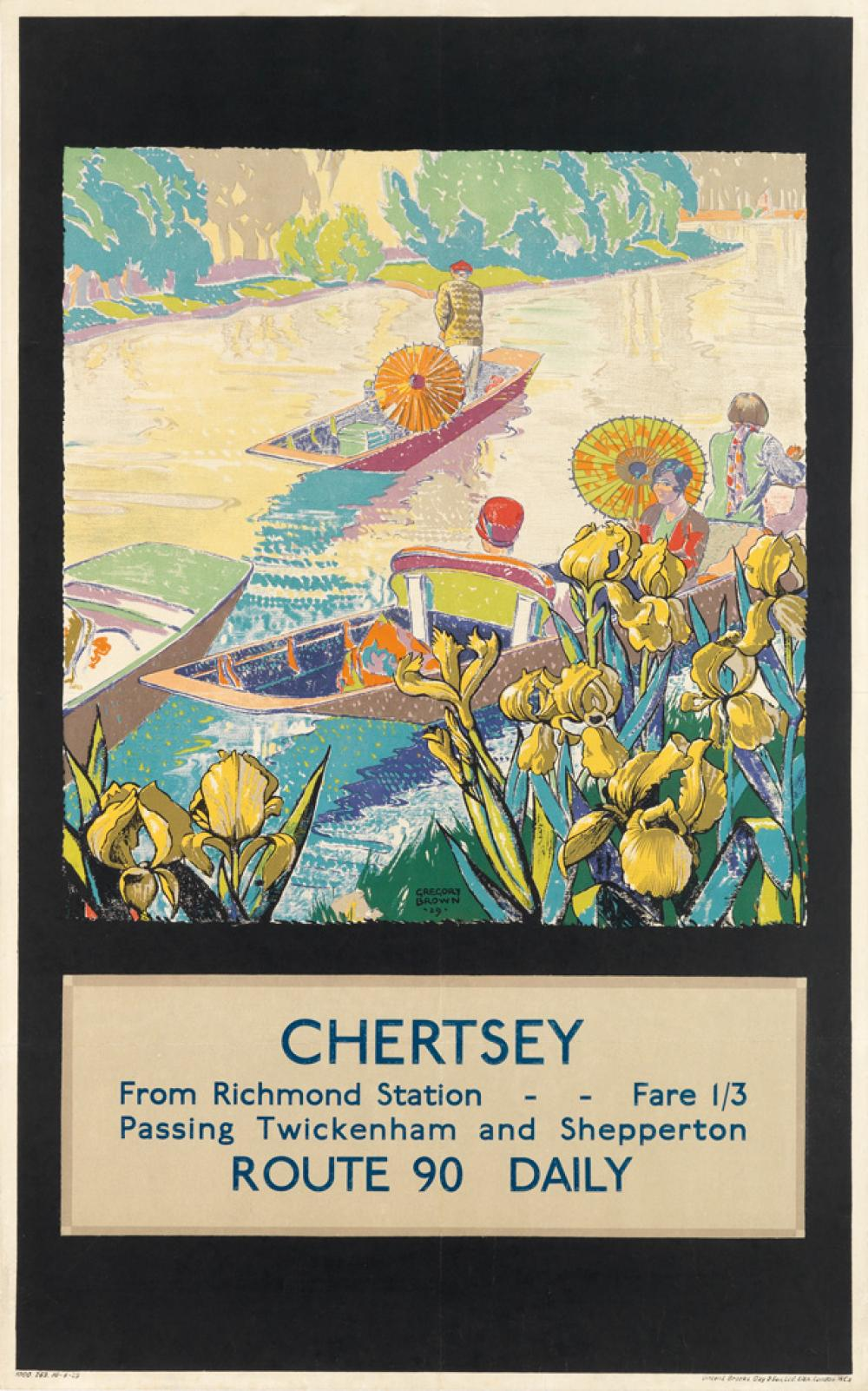 F. GREGORY BROWN (1887-1941). CHERTSEY / FROM RICHMOND STATION. 1929. 39x25 inches, 101x63 cm. Vincent Brooks Day & Ltd., London.