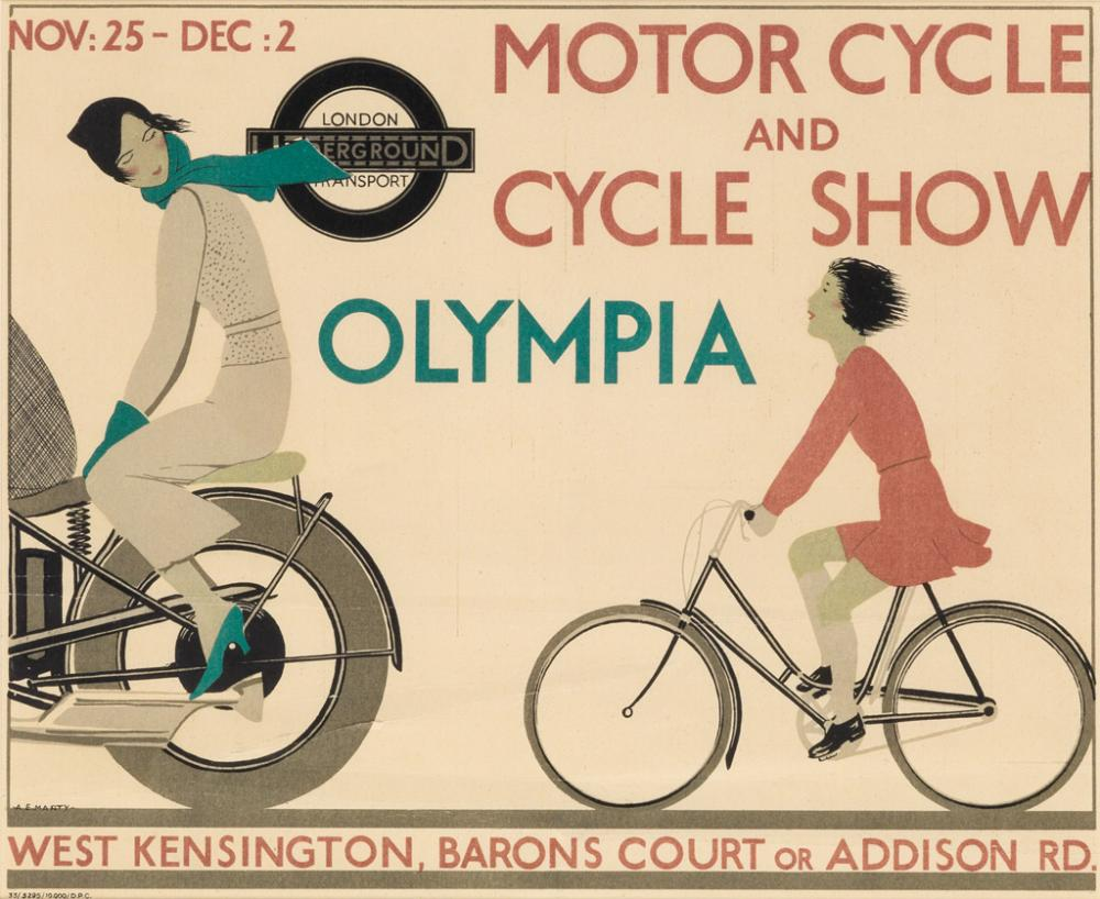 ANDRÉ ÉDOUARD MARTY (1882-1974). MOTOR CYCLE AND CYCLE SHOW / OLYMPIA. 1933. 10x12 inches, 24x31 cm. Dangerfield Printing Company Ltd,