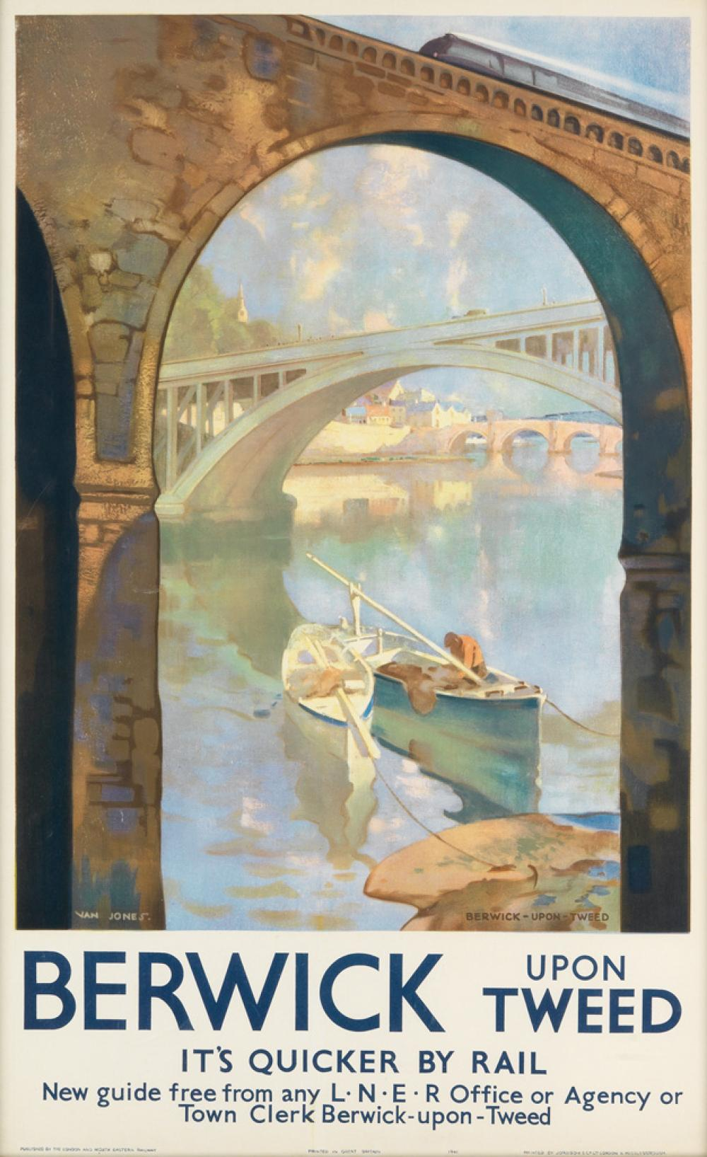 VAN JONES (DATES UNKNOWN). BERWICK UPON TWEED. 1941. 39x24 inches, 100x63 cm. Jordison & Co, Ltd., London.