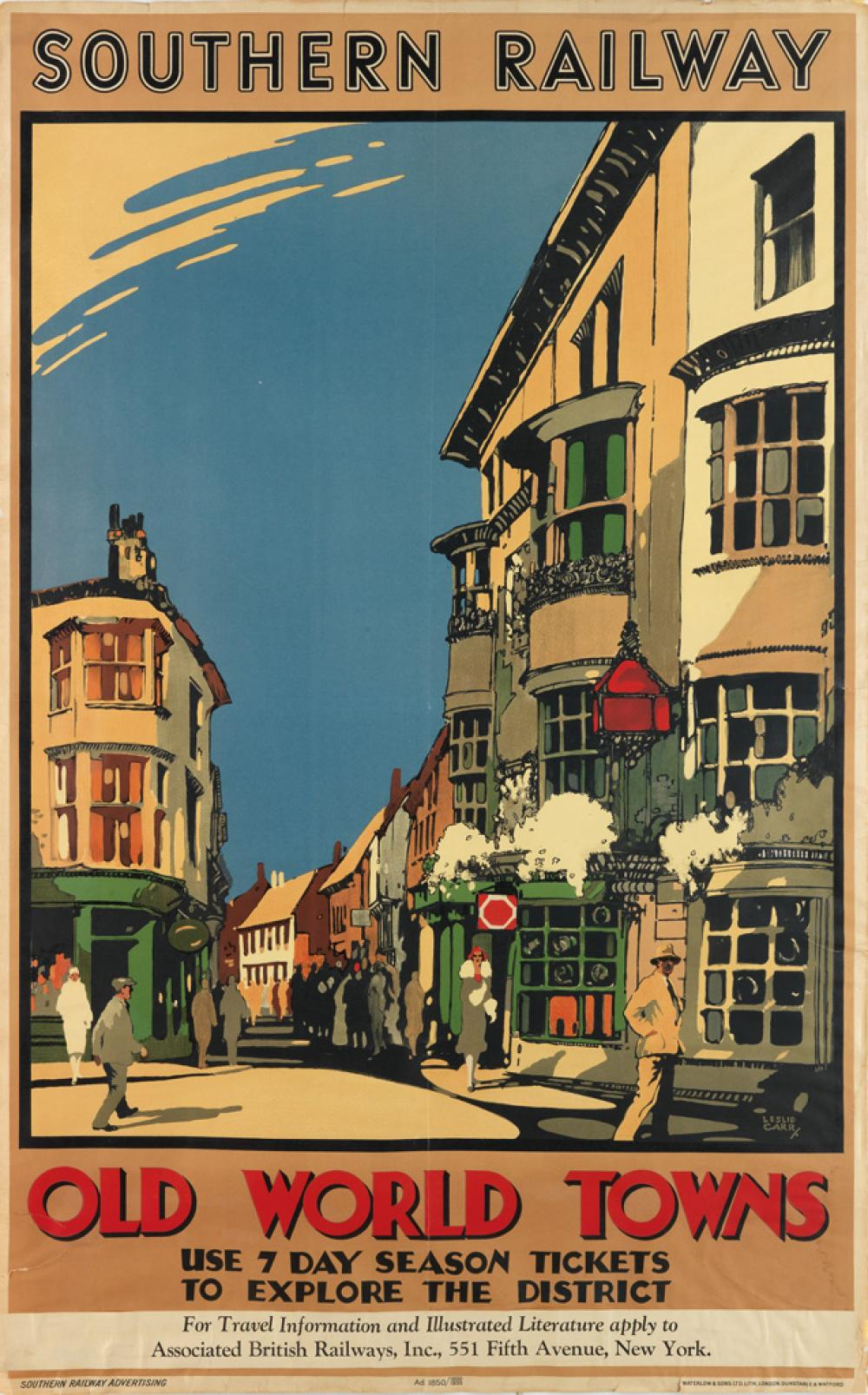 LESLIE CARR (1891-1961). OLD WORLD TOWNS / SOUTHERN RAILWAY. 1932. 39x24 inches, 101x63 cm. Waterlow & Sons Ltd., London.