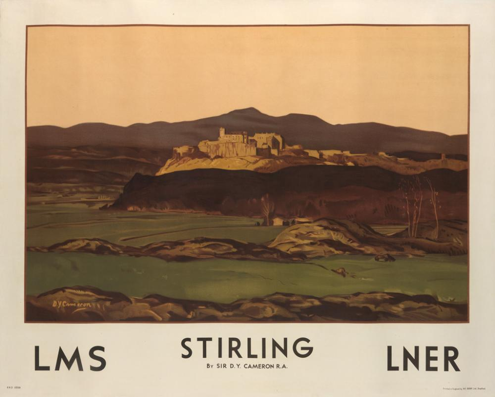 SIR DAVID YOUNG CAMERON (1865-1945). STIRLING / LMS / LNER. 1927. 40x50 inches, 101x127 cm. W.E. Berry Ltd., Bradford.