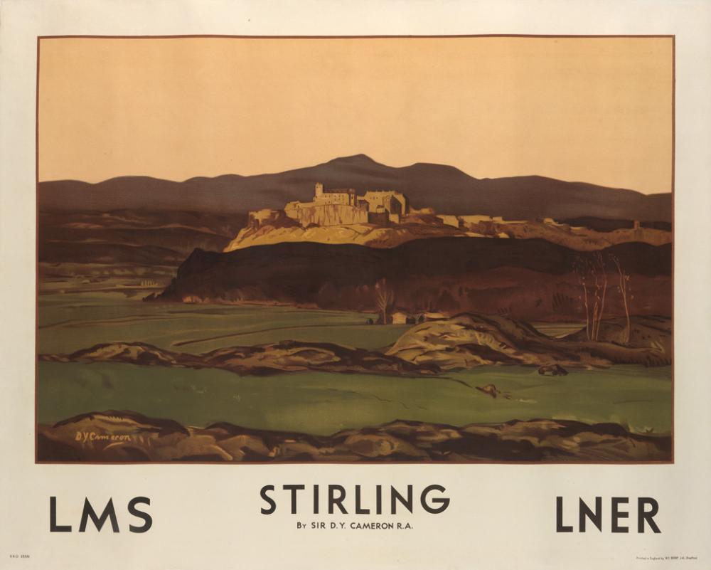 SIR DAVID YOUNG CAMERON (1865-1945). STIRLING / LMS / LNER. 1927. 40x50 inches, 101x127 cm. W.E. Berry Ltd., Bradford.