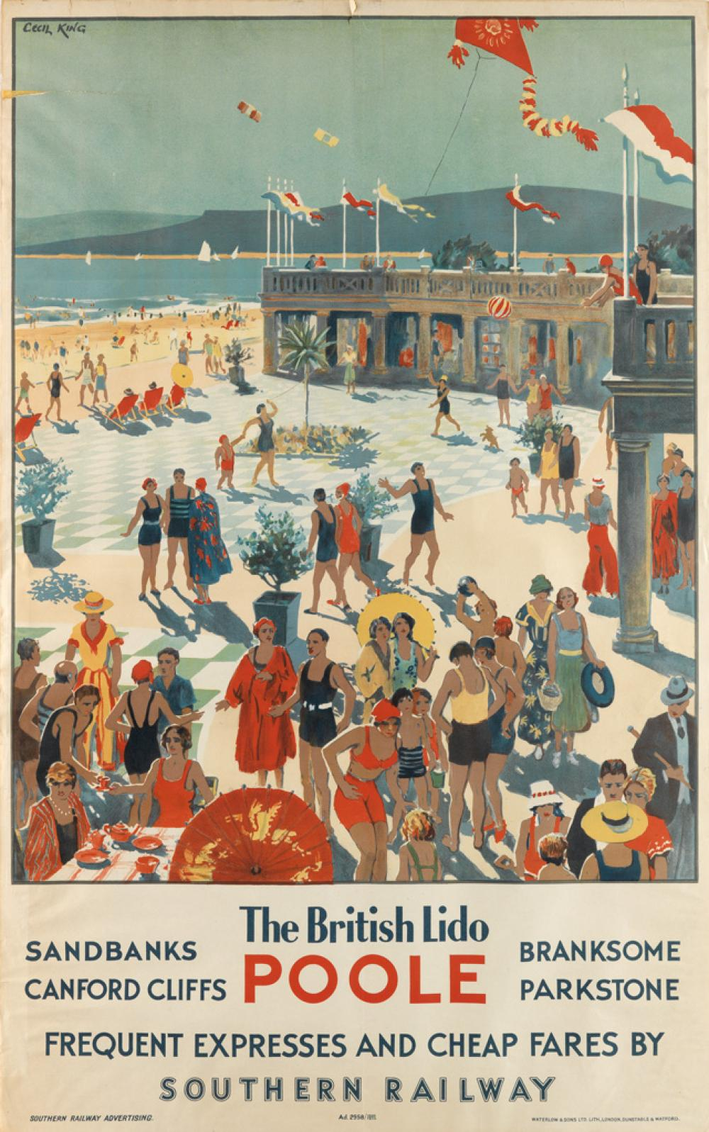 CECIL KING (1881-1942). POOLE / THE BRITISH LIDO / SOUTHERN RAILWAY. 1935. 39x24 inches, 100x63 cm. Waterlow & Sons Ltd., London.