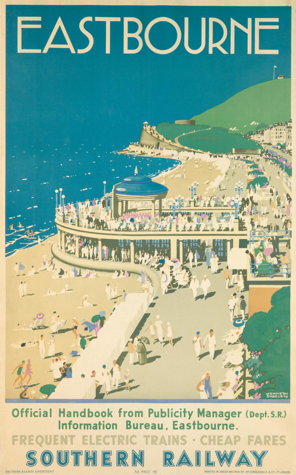 KENNETH SHOESMITH (1890-1939). EASTBOURNE / SOUTHERN RAILWAY. 1938. 39x24 inches, 101x63 cm. McCorquodale & Co., Ltd., London.