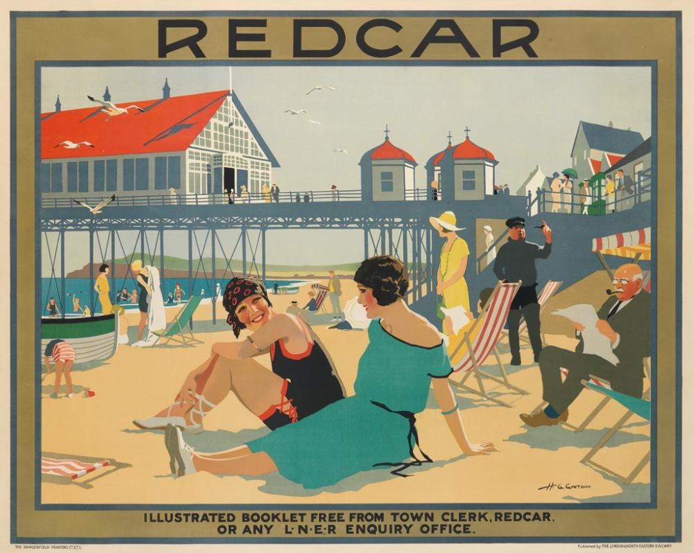 HENRY GEORGE GAWTHORN (1879-1941). REDCAR. Circa 1930. 40x50 inches, 101x127 cm. The Dangerfield Printing Co., Ltd., London.