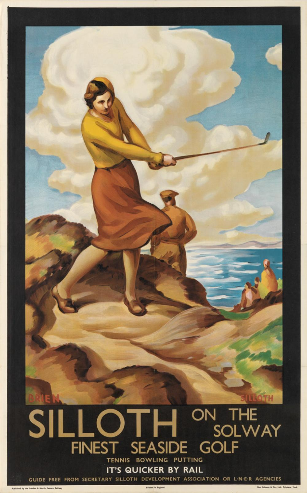 G. STANISLAUS BRIEN (DATES UNKNOWN). SILLOTH ON THE SOLWAY / FINEST SEASIDE GOLF. 1932. 40x24 inches, 101x63 cm. Ben Johnson & Co., Ltd