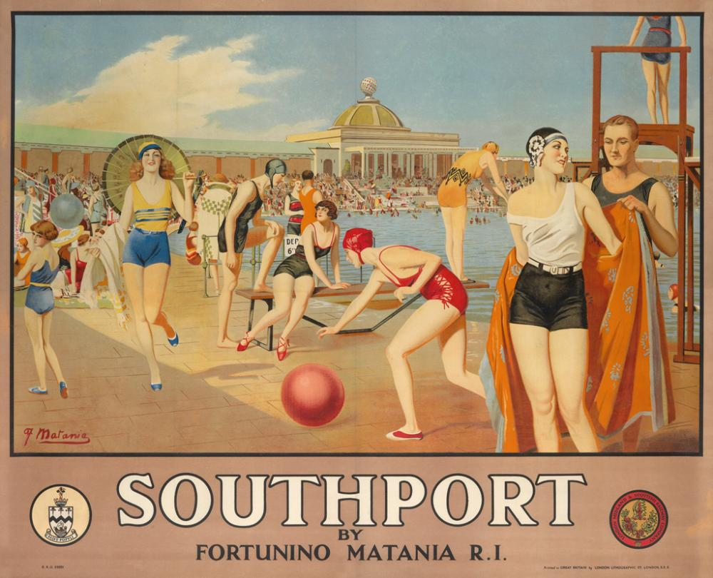 FORTUNINO MATANIA (1881-1963). SOUTHPORT. Circa 1928. 39x49 inches, 101x125 cm. London Lithographic Co., London.