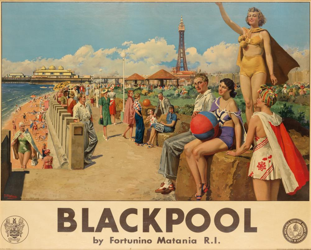 FORTUNINO MATANIA (1881-1963). BLACKPOOL. Circa 1938. 39x48 inches, 99x122 cm. Waterlow & Sons, London.