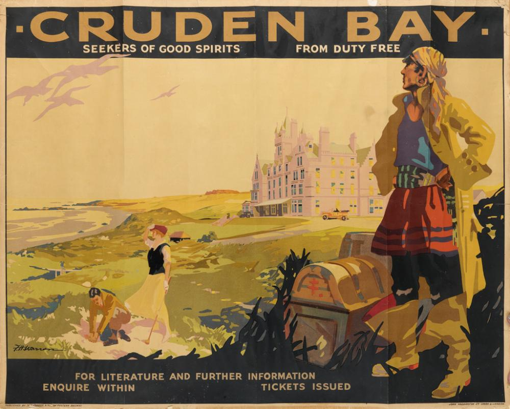 F.H. WARREN (DATES UNKNOWN). CRUDEN BAY / SEEKERS OF GOOD SPIRITS. 1935. 40x50 inches, 102x127 cm. John Waddington Ltd., Leeds.