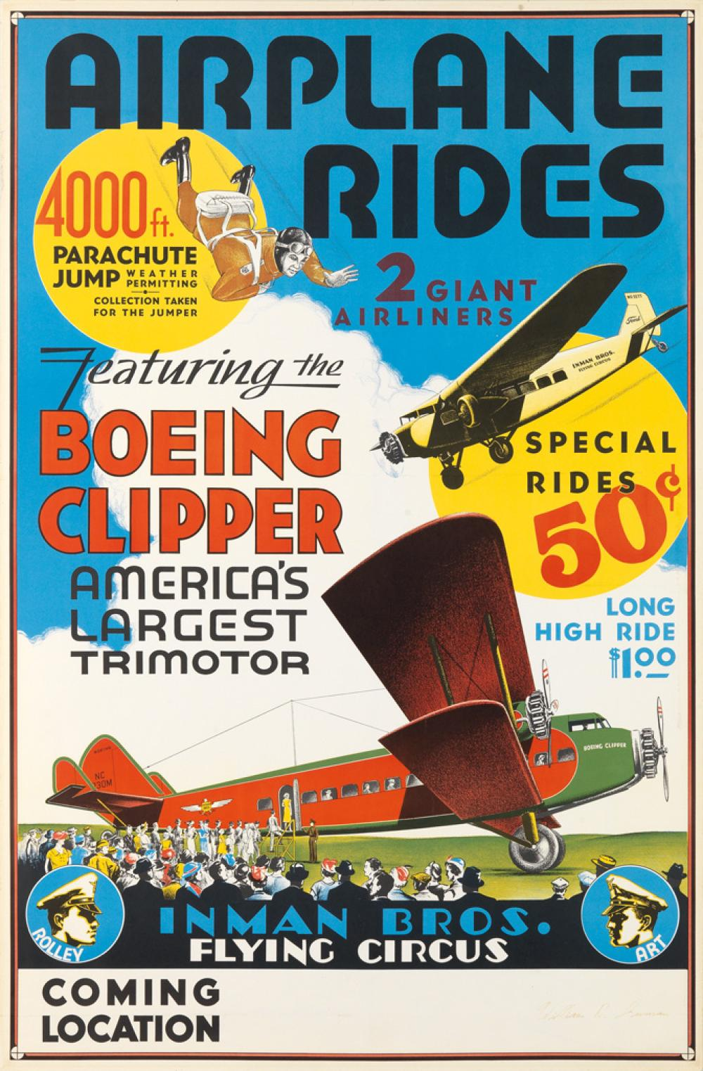 DESIGNER UNKNOWN. AIRPLANE RIDES / INMAN BROS. FLYING CIRCUS. Circa 1929. 37x24 inches, 96x63 cm.