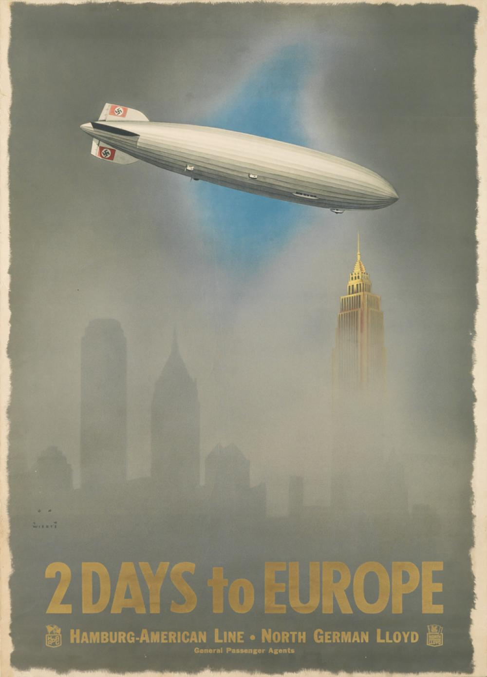 JUPP WIERTZ (1881-1939). 2 DAYS TO EUROPE / HAMBURG - AMERICAN LINE. 1936. 32x23 inches, 82x59 cm. Eschebach & Schaefer, Leipzig.
