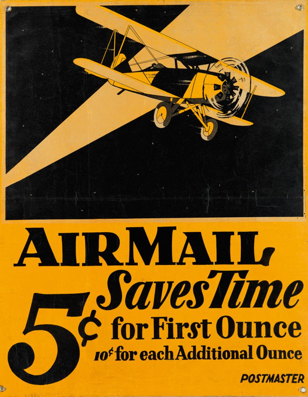 DESIGNER UNKNOWN. AIR MAIL SAVES TIME. Circa 1926. 27x21 inches, 70x55 cm.