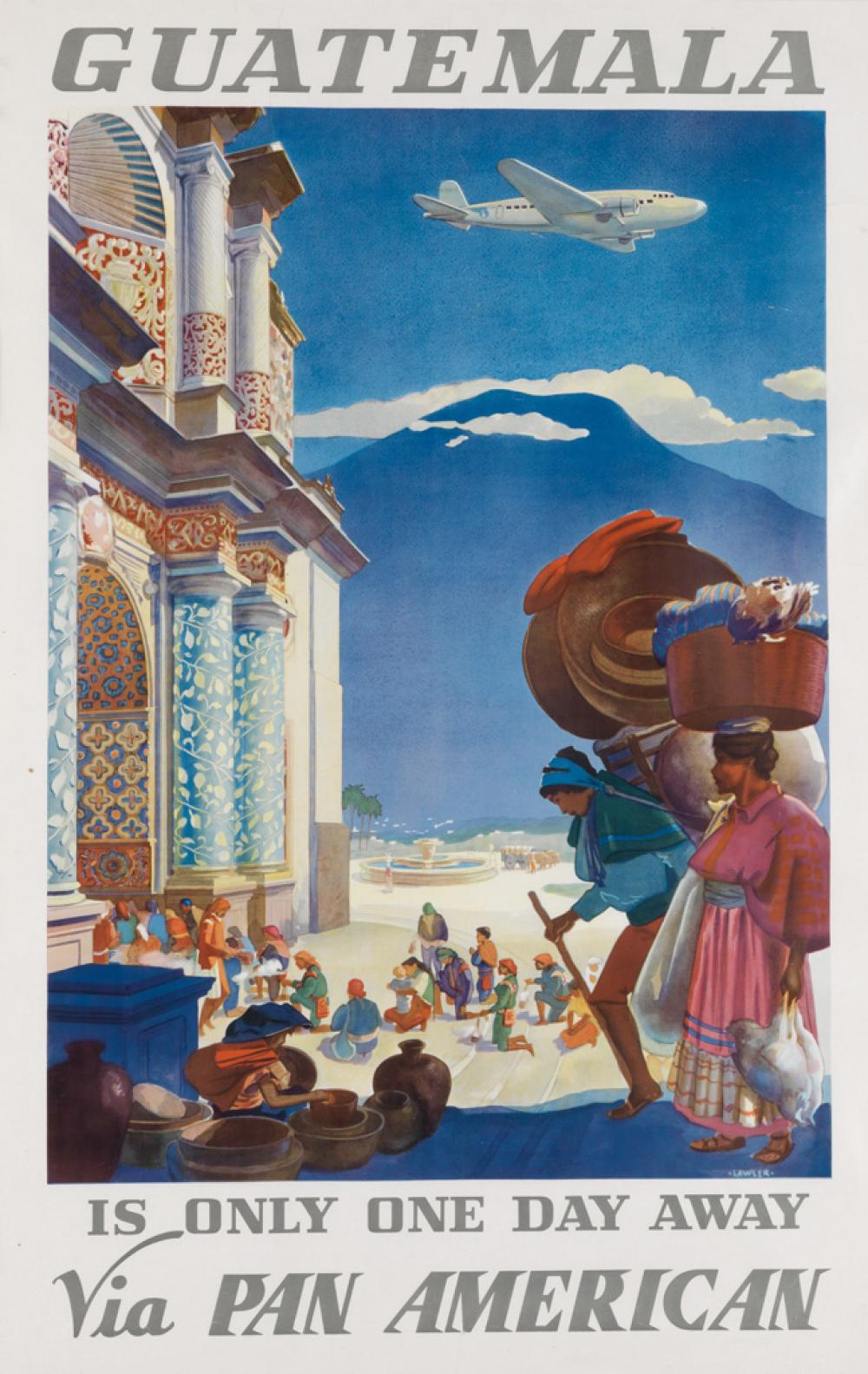 PAUL GEORGE LAWLER (DATES UNKNOWN). GUATEMALA / IS ONLY ONE DAY AWAY VIA PAN AMERICAN. 1938. 40x25 inches, 102x65 cm.
