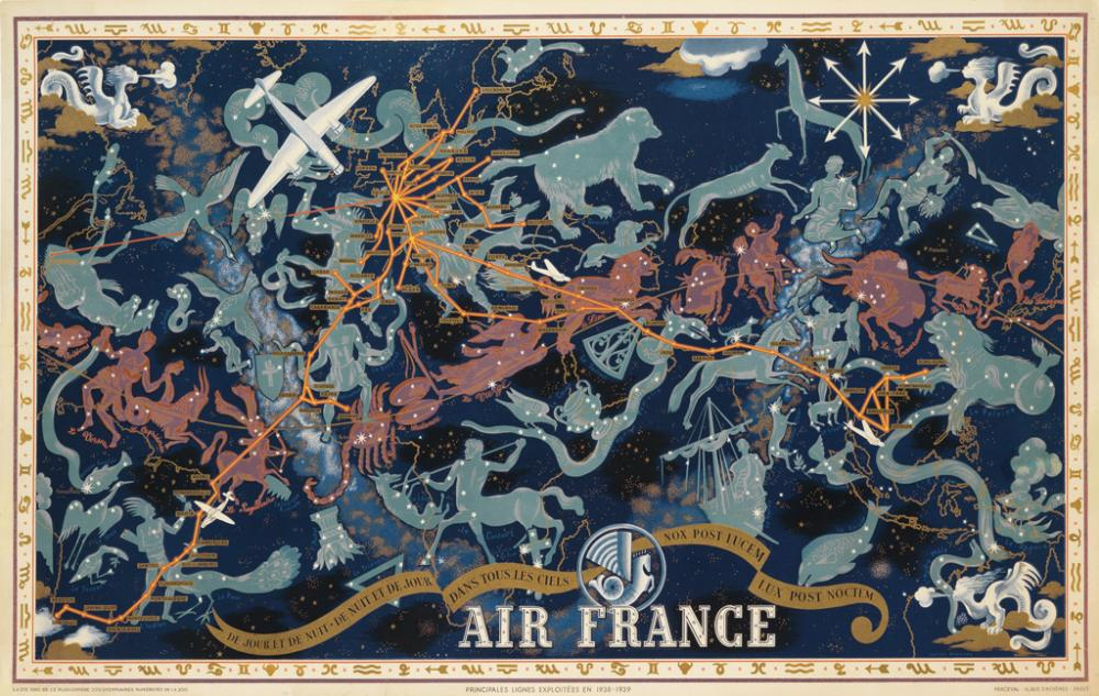 LUCIEN BOUCHER (1889-1971). AIR FRANCE / DE JOUR ET DE NUIT. 1938. 24x38 inches, 62x97 cm. Perceval, Paris.
