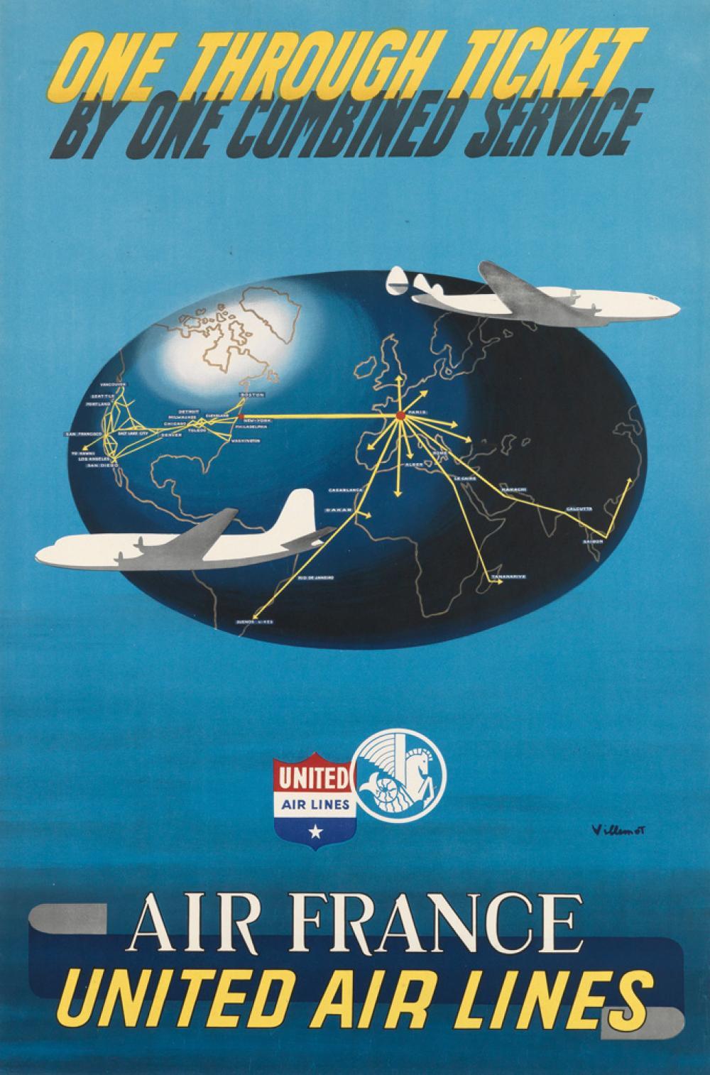 BERNARD VILLEMOT (1911-1989). AIR FRANCE / UNITED AIR LINES. 1949. 37x24 inches, 95x62 cm. [H. Baile, Paris.]
