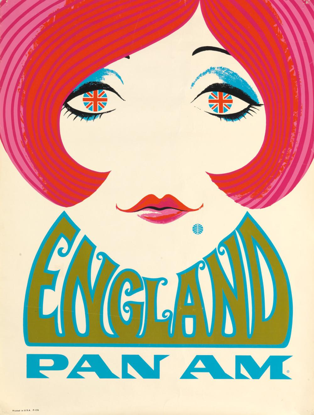 DESIGNER UNKNOWN. ENGLAND / PAN AM. Circa 1969. 37x28 inches, 94x71 cm.