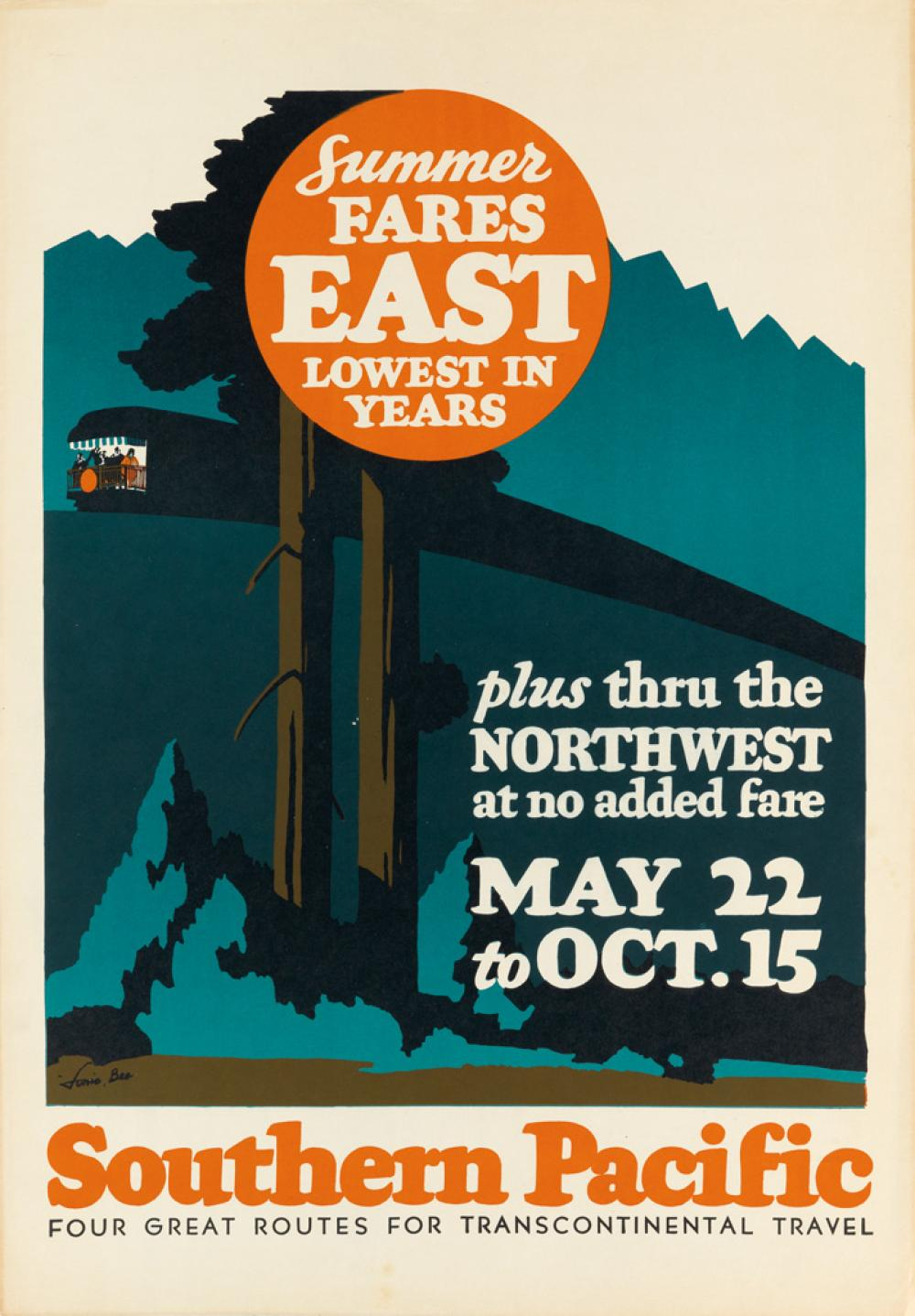 LONIE BEE (1902-1995). SOUTHERN PACIFIC / SUMMER FARES EAST. Circa 1936. 22x16 inches, 57x40 cm.