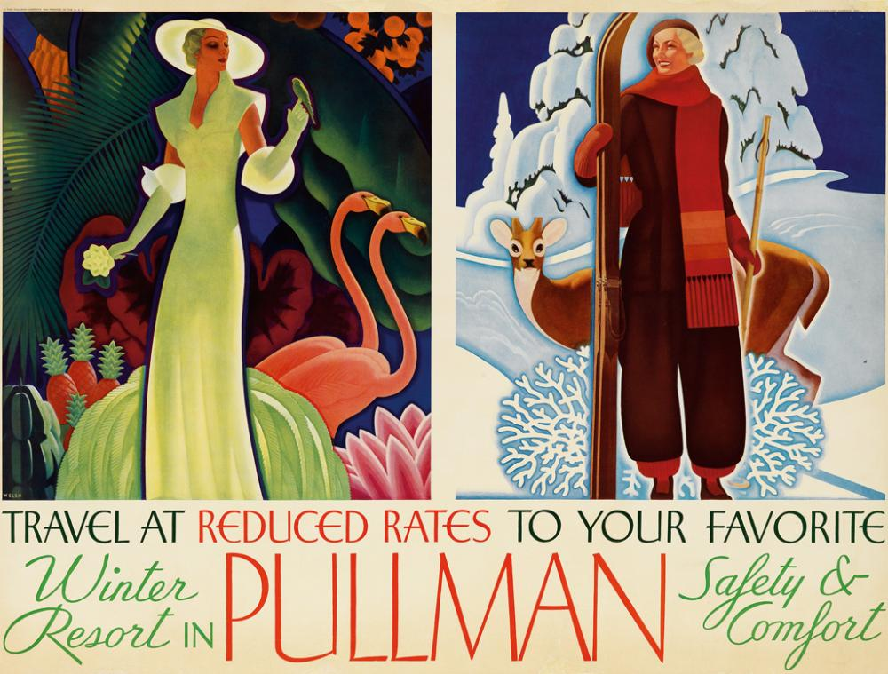 WILLIAM WELSH (1889-1984). PULLMAN / SAFETY & COMFORT. 1934. 27x36 inches, 69x91 cm. Charles Daniel Frey Company, [Chicago.]