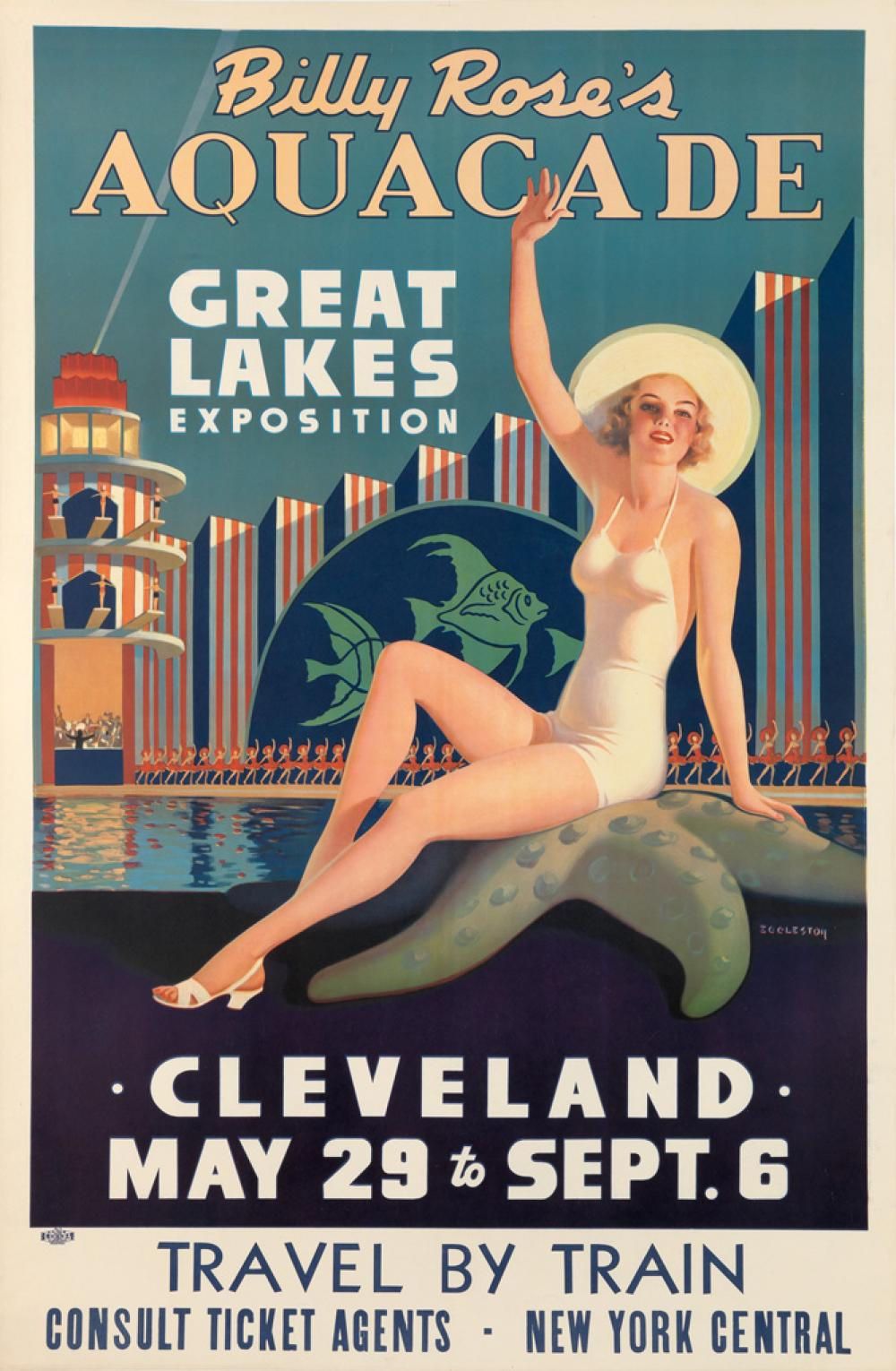 EDWARD M. EGGLESTON (1883-1941). BILLY ROSE'S AQUACADE / GREAT LAKES EXPOSITION. 1936. 43x28 inches, 111x72 cm. L.I.P. & B.A., Clevela