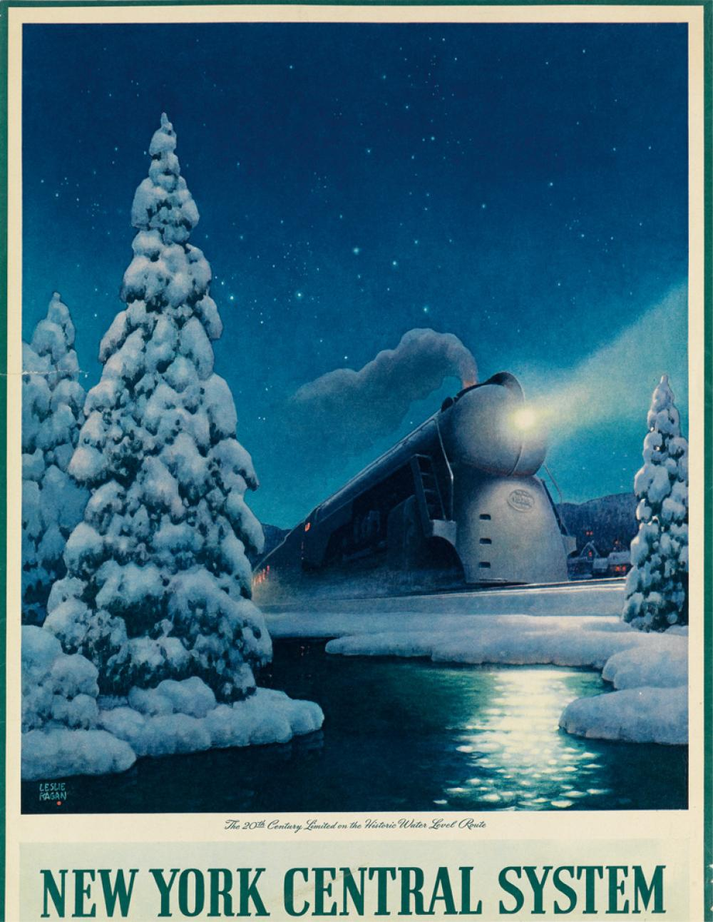 LESLIE RAGAN (1897-1972). THE 20TH CENTURY LIMITED / NEW YORK CENTRAL SYSTEM. Calendar back. 1945. 20x15 inches, 52x40 cm.