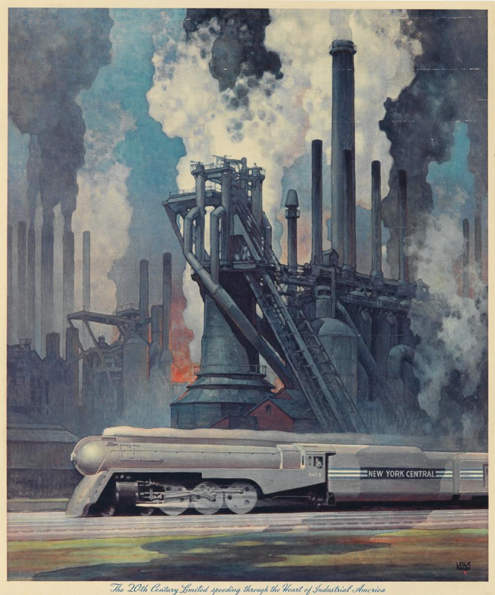 LESLIE RAGAN (1897-1972). THE 20TH CENTURY LIMITED / SPEEDING THROUGH THE HEART OF INDUSTRIAL AMERICA. Calendar back. 1943. 18x15 inche