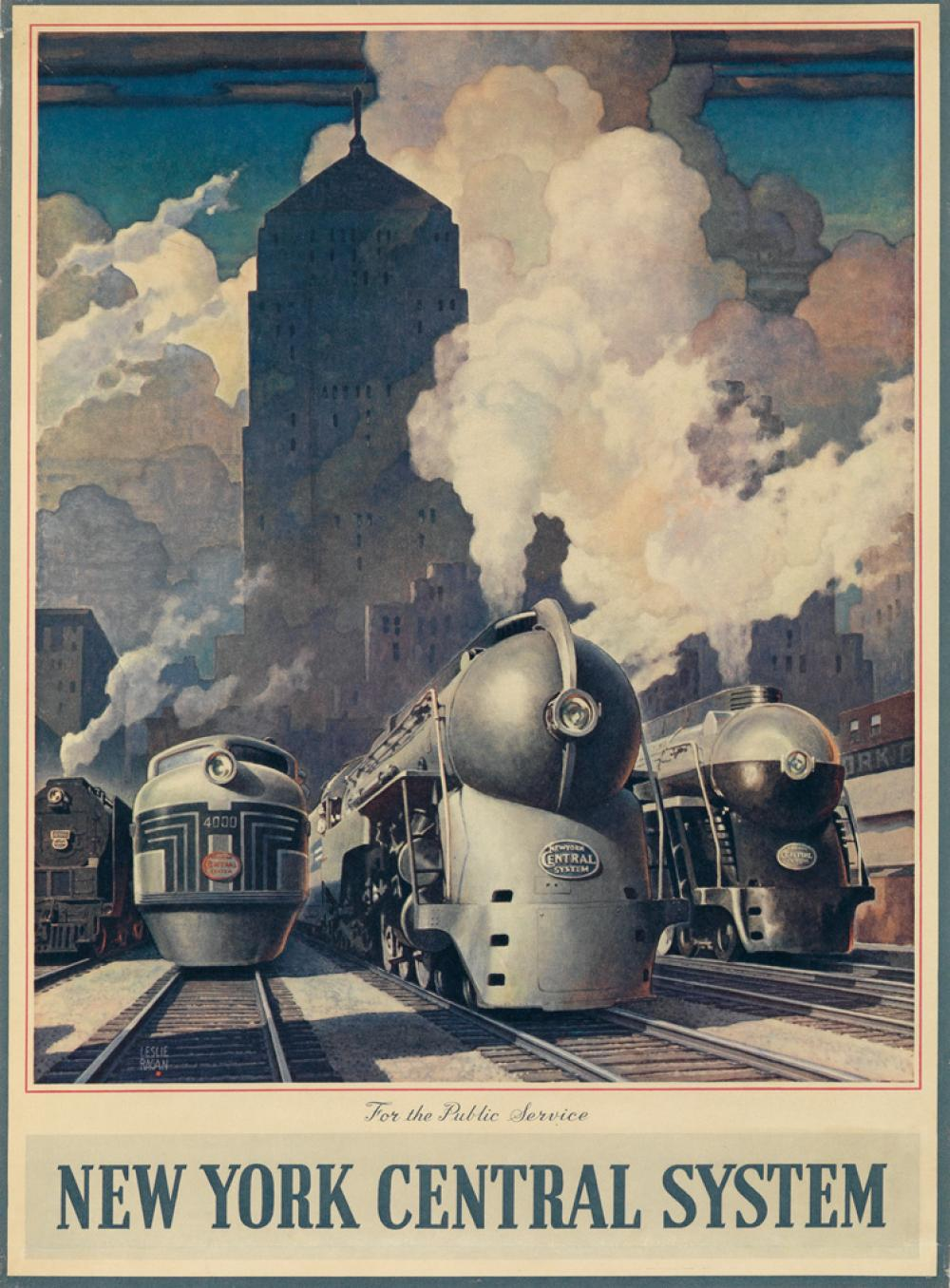 LESLIE RAGAN (1897-1972). NEW YORK CENTRAL SYSTEM / FOR THE PUBLIC SERVICE. Calendar back. 1945. 21x15 inches, 54x40 cm.