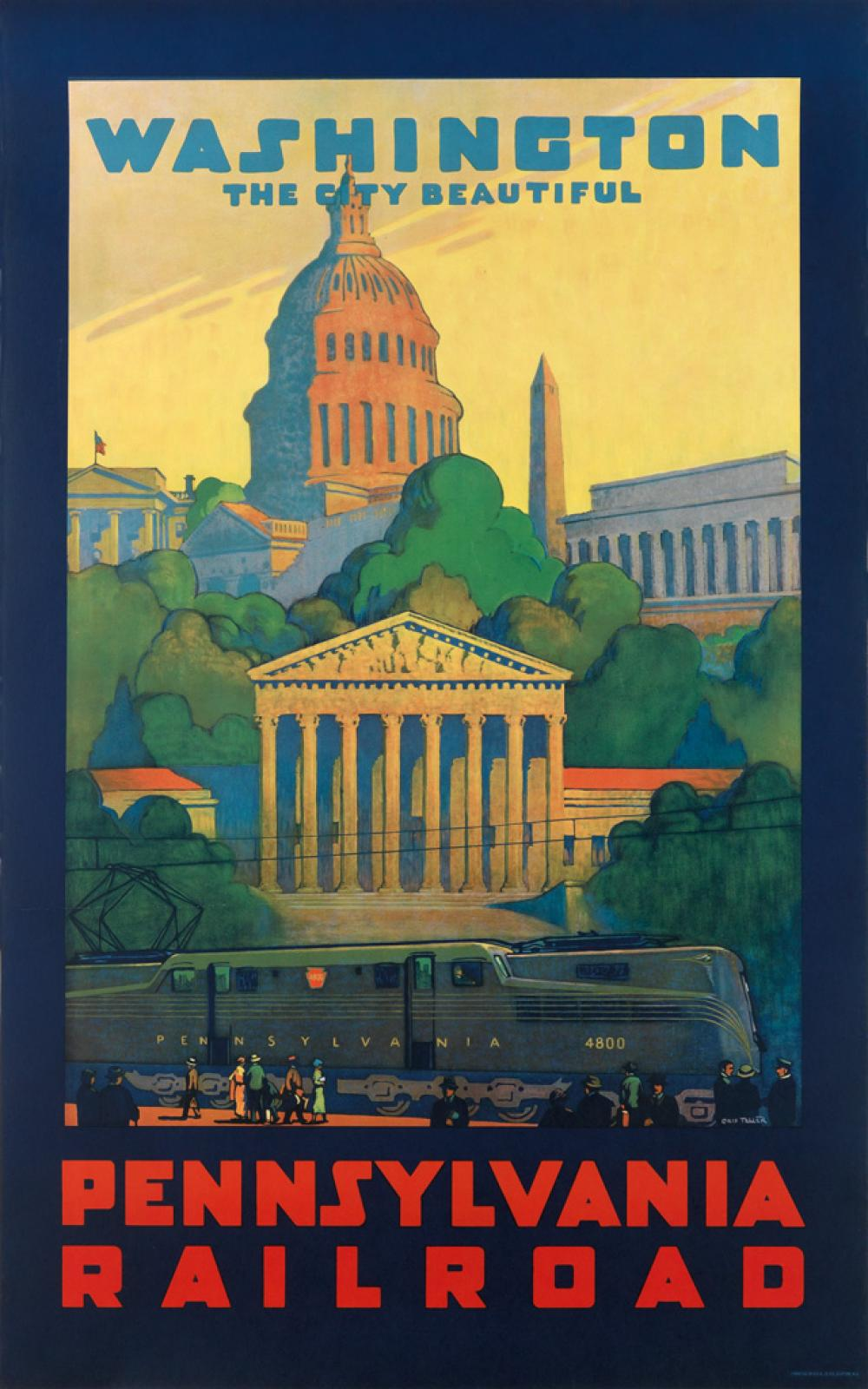 GRIF TELLER (1899-1993). WASHINGTON / THE CITY BEAUTIFUL / PENNSYLVANIA RAILROAD. 1935. 40x25 inches, 102x63 cm. O. Co., Clifton, New J