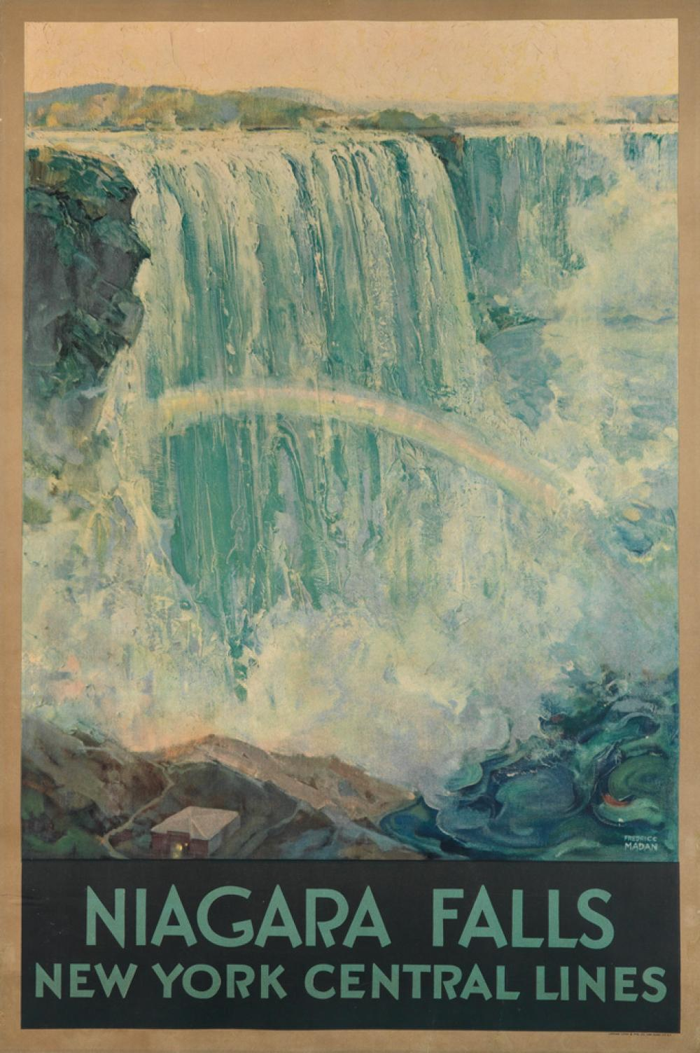 FREDERIC MADAN (1885-1972). NIAGARA FALLS / NEW YORK CENTRAL LINES. Circa 1928. 40x26 inches, 103x68 cm. Latham Litho & Ptg. Co., Long