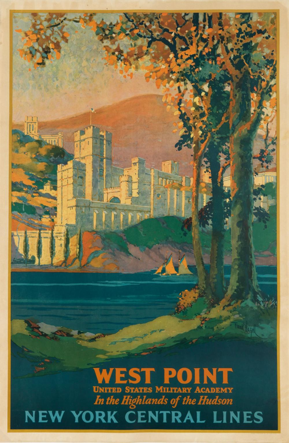 FRANK HAZELL (1883-1957). WEST POINT / NEW YORK CENTRAL LINES. 1927. 40x26 inches, 103x68 cm. Latham Litho & Ptg. Co., Long Island City