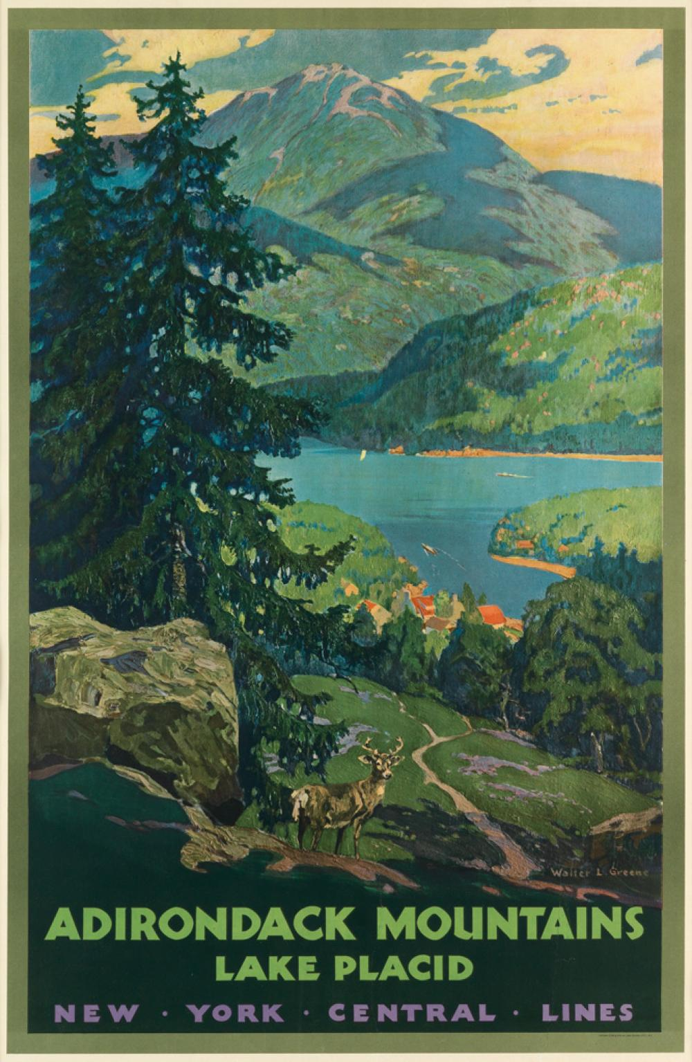 WALTER L. GREENE (1870-1956). ADIRONDACK MOUNTAINS / LAKE PLACID. Circa 1935. 40x26 inches, 102x66 cm. Latham Litho & Ptg. Co., Long Is