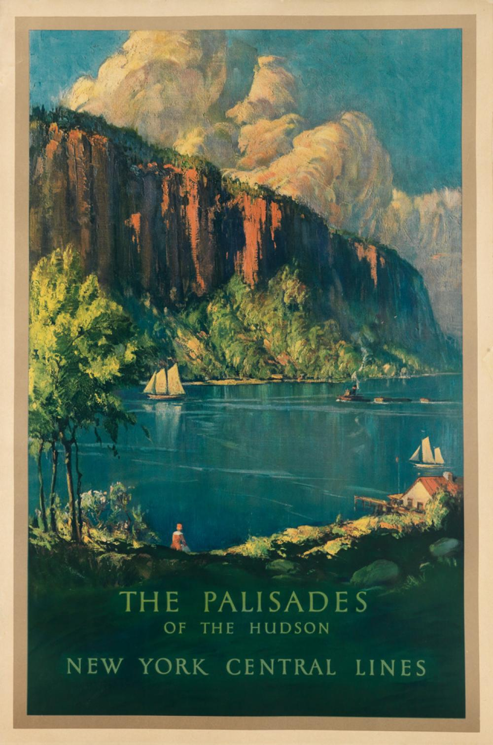 DESIGNER UNKNOWN. THE PALISADES OF THE HUDSON / NEW YORK CENTRAL LINES. 40x26 inches, 103x68 cm. Latham Litho & Ptg. Co., Long Island C