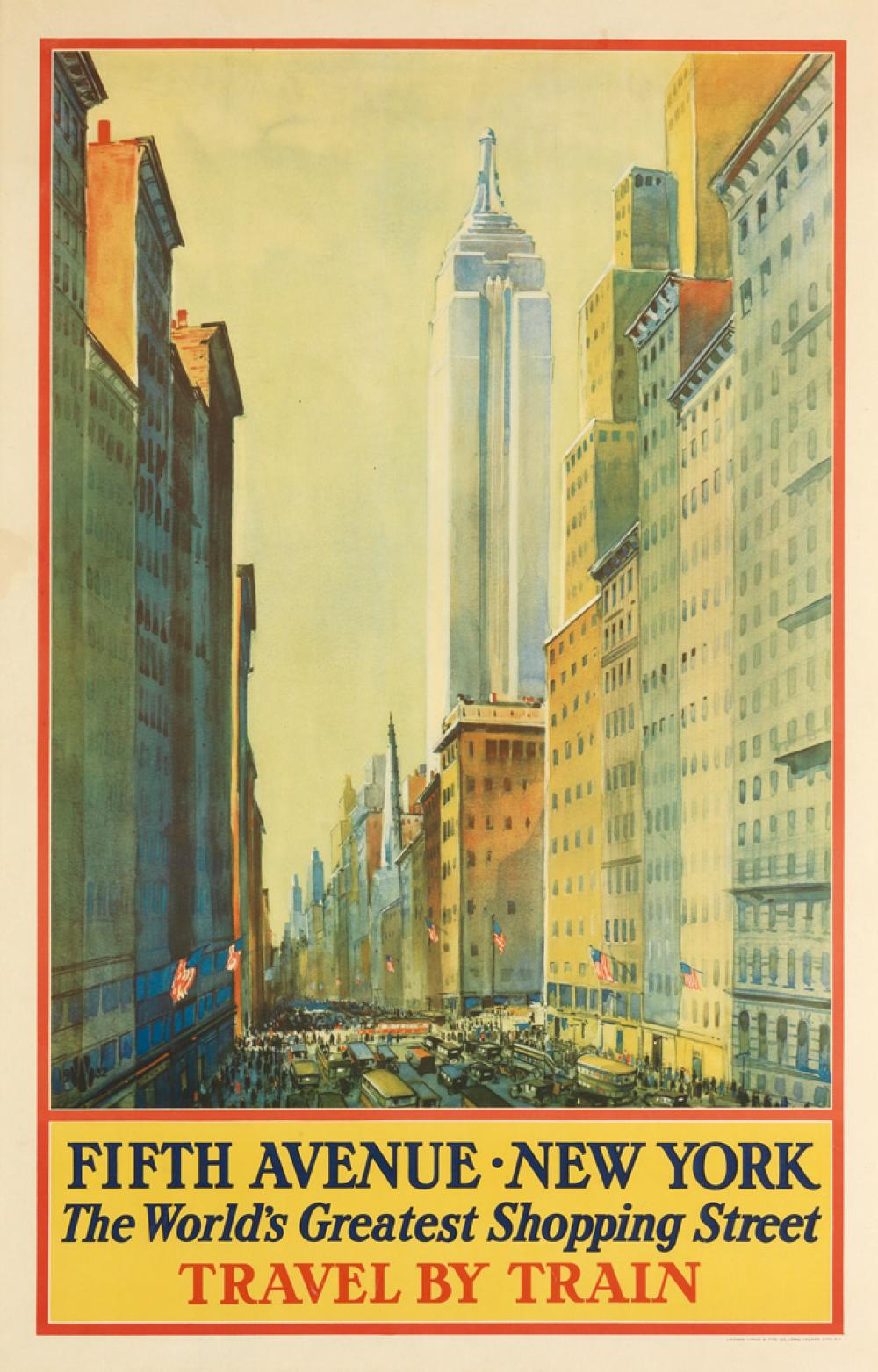 FREDERIC KIMBALL MIZEN (1888-1965). FIFTH AVENUE • NEW YORK / THE WORLD'S GREATEST SHOPPING STREET. 1932. 39x23 inches, 101x60 cm. Lat