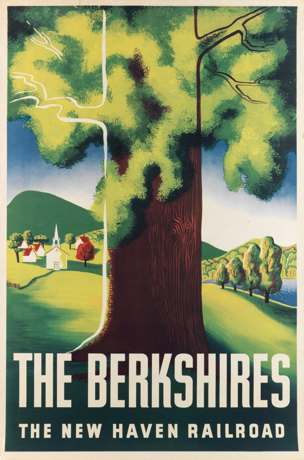 BEN NASON (1915-?). THE BERKSHIRES / THE NEW HAVEN RAILROAD. 1942. 42x28 inches, 106x71 cm.